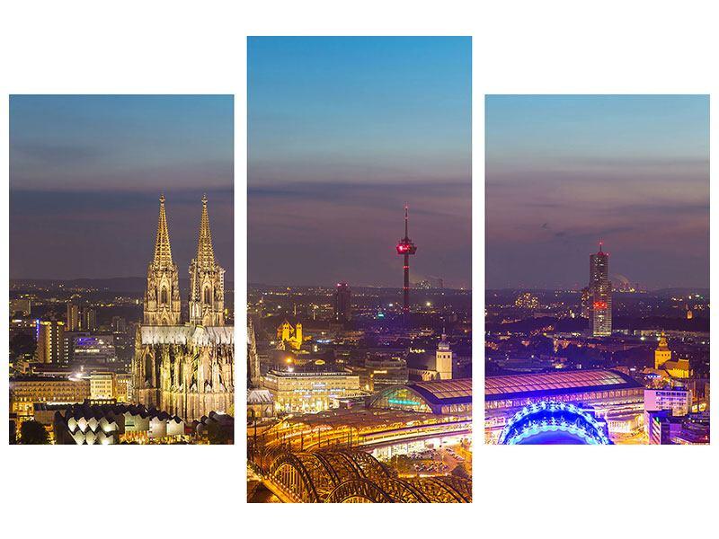 Hartschaumbild 3-teilig modern Skyline Kölner Dom bei Nacht