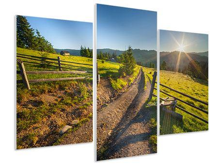 Hartschaumbild 3-teilig modern Sonnenaufgang am Berg