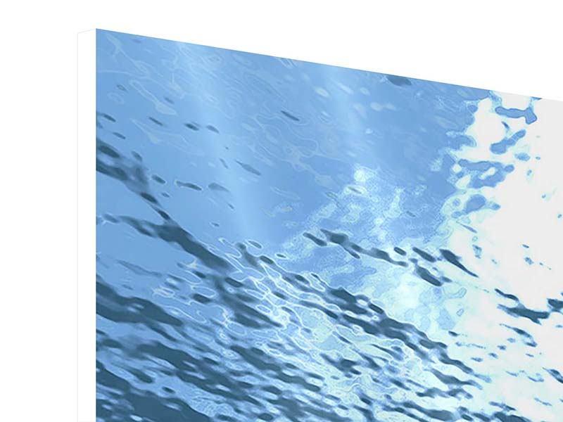 Hartschaumbild 3-teilig modern Sonnenstrahlen unter Wasser