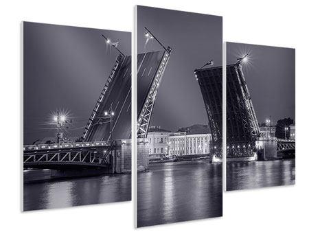 Hartschaumbild 3-teilig modern Klappbrücke bei Nacht