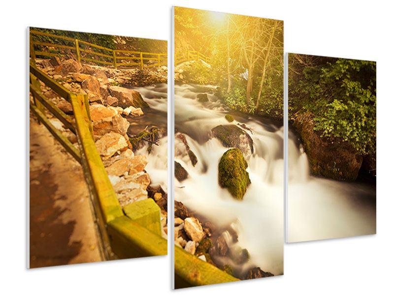 Hartschaumbild 3-teilig modern Sonnenuntergang am Wasserfall