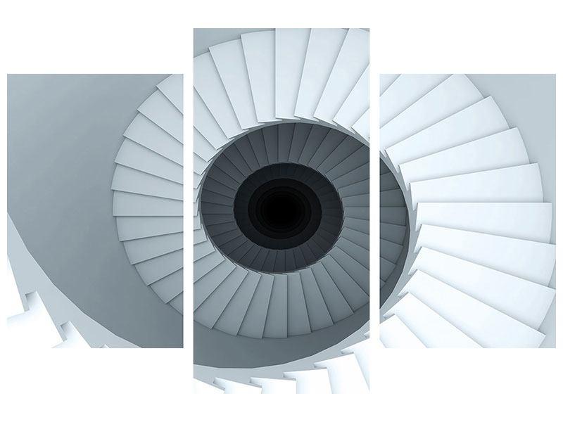Hartschaumbild 3-teilig modern 3D Wendeltreppe