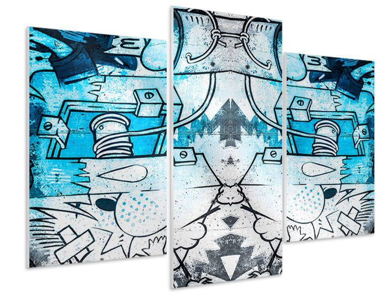 Hartschaumbild 3-teilig modern Graffiti