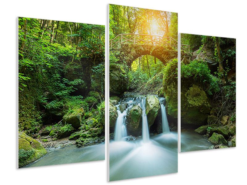 Hartschaumbild 3-teilig modern Wasserspiegelungen