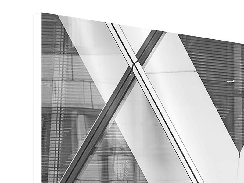 Hartschaumbild 3-teilig modern Teil eines Wolkenkratzers