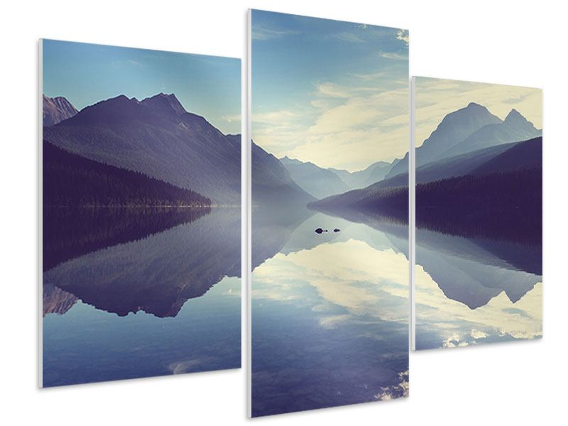 Hartschaumbild 3-teilig modern Bergspiegelung