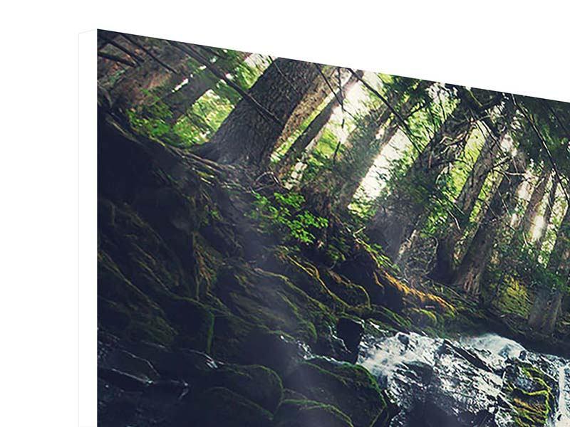 Hartschaumbild 3-teilig modern Feng Shui & Wasserfall