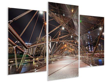Hartschaumbild 3-teilig modern Brückenlichter