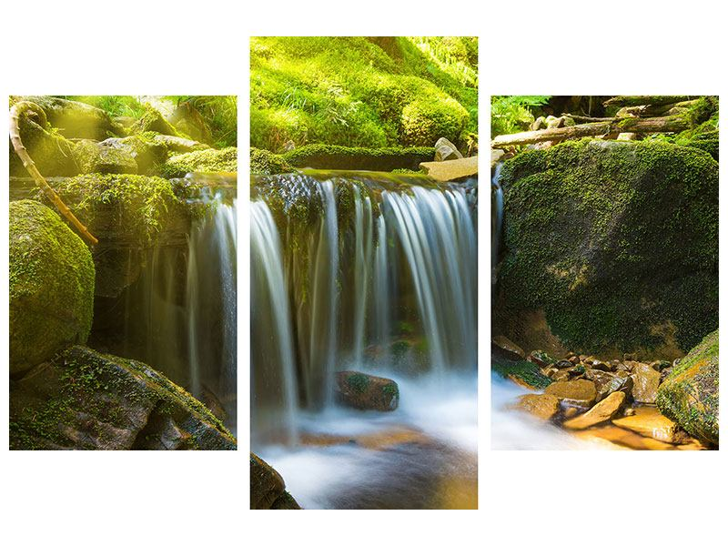 Hartschaumbild 3-teilig modern Schönheit des fallenden Wassers
