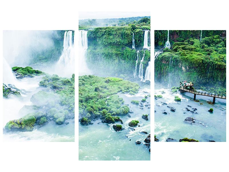 Hartschaumbild 3-teilig modern Wasserfälle