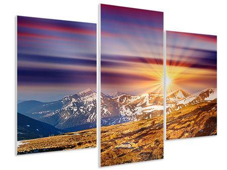 Hartschaumbild 3-teilig modern Majestätischer Sonnuntergang am Berggipfel