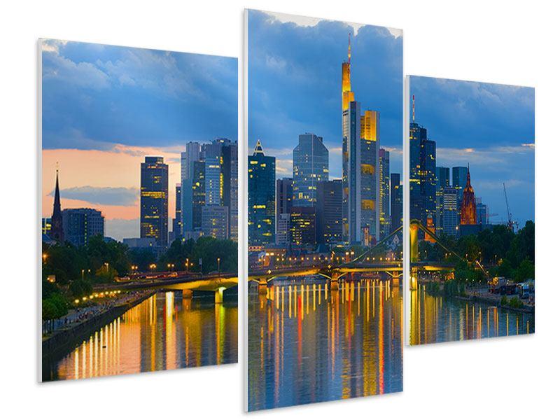 Hartschaumbild 3-teilig modern Skyline Frankfurt am Main