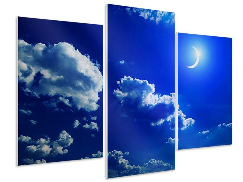 Hartschaumbild 3-teilig modern Der Mond