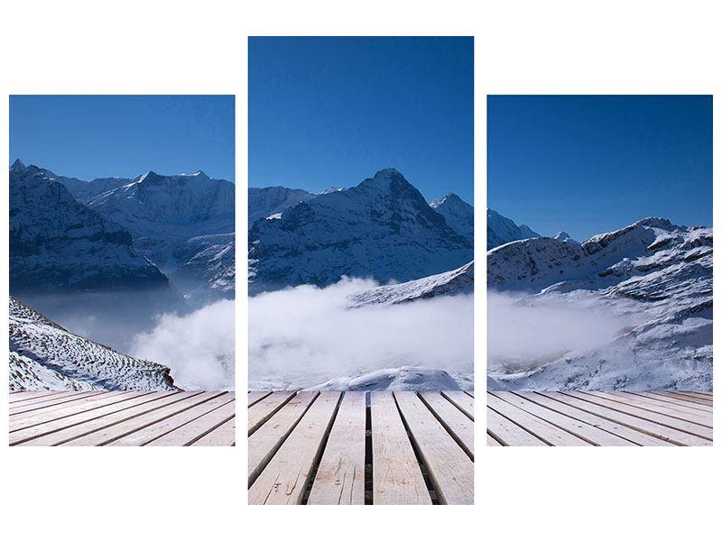 Hartschaumbild 3-teilig modern Sonnenterrasse in den Schweizer Alpen