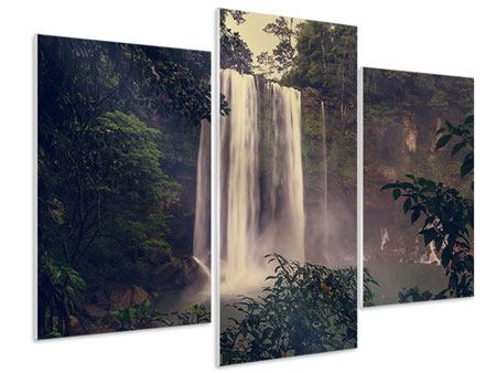 Hartschaumbild 3-teilig modern Wasserfall in Mexiko
