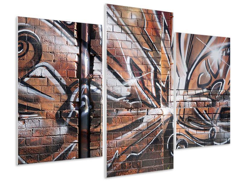 Hartschaumbild 3-teilig modern Graffiti Mauer
