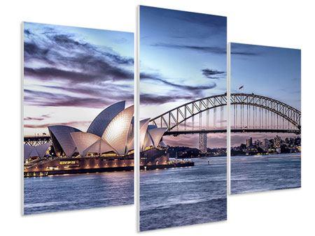 Hartschaumbild 3-teilig modern Skyline Sydney Opera House