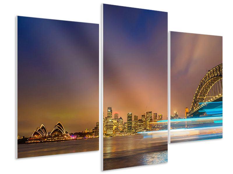 Hartschaumbild 3-teilig modern Skyline Opera House in Sydney im Abendlicht