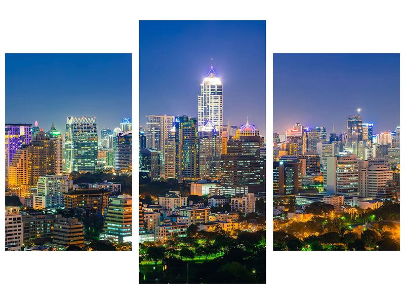 Hartschaumbild 3-teilig modern Skyline One Night in Bangkok