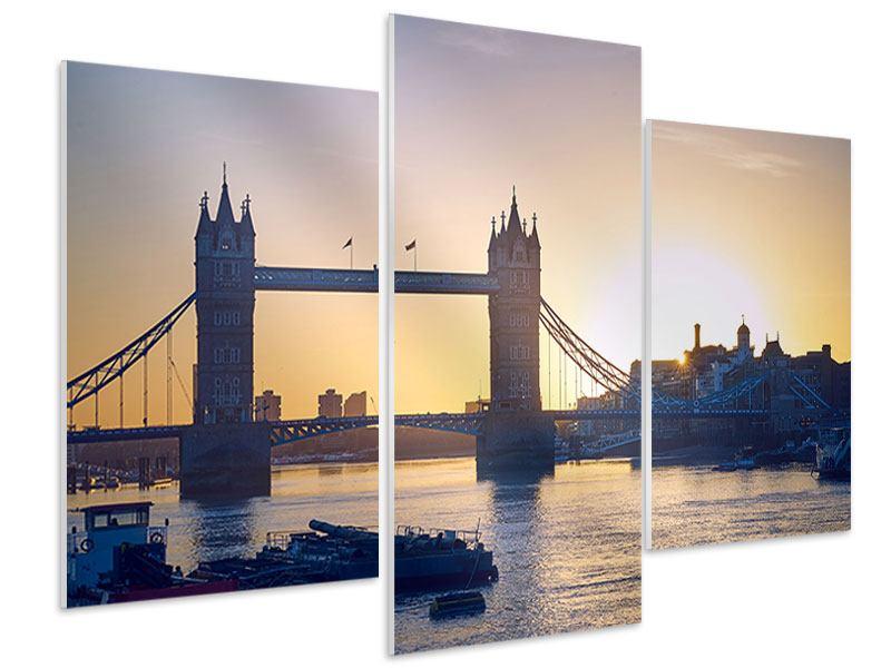 Hartschaumbild 3-teilig modern Tower Bridge bei Sonnenuntergang
