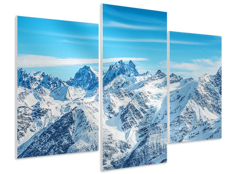 Hartschaumbild 3-teilig modern Alpenpanorama