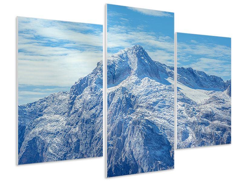 Hartschaumbild 3-teilig modern Friedliche Bergstimmung