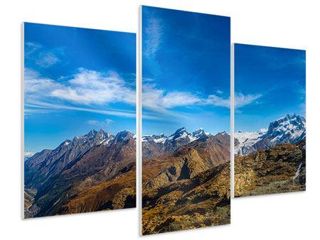 Hartschaumbild 3-teilig modern Schweizer Alpen im Frühling
