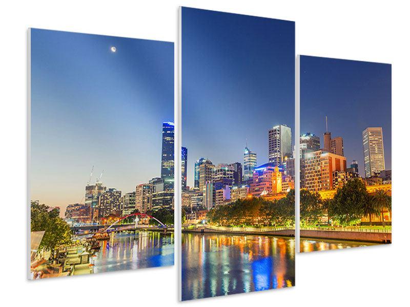 Hartschaumbild 3-teilig modern Skyline Sydney in der Abenddämmerung