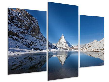 Hartschaumbild 3-teilig modern Der Riffelsee am Matterhorn
