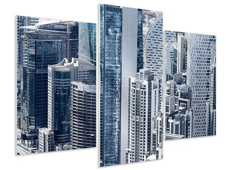 Hartschaumbild 3-teilig modern Die Wolkenkratzer von Dubai