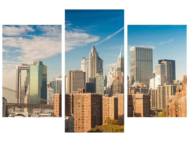 Hartschaumbild 3-teilig modern Skyline New York