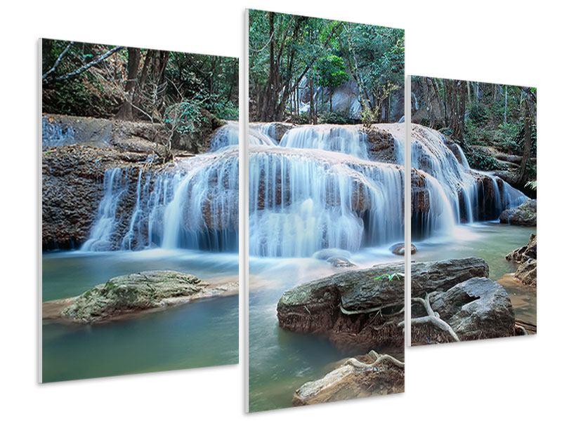 Hartschaumbild 3-teilig modern Ein Wasserfall