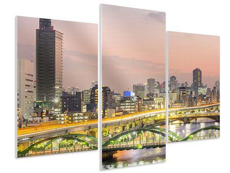 Hartschaumbild 3-teilig modern Skyline Das Lichtermeer von Tokio