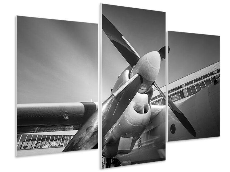 Hartschaumbild 3-teilig modern Nostalgisches Flugzeug