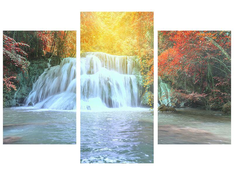 Hartschaumbild 3-teilig modern Wasserfall im Licht