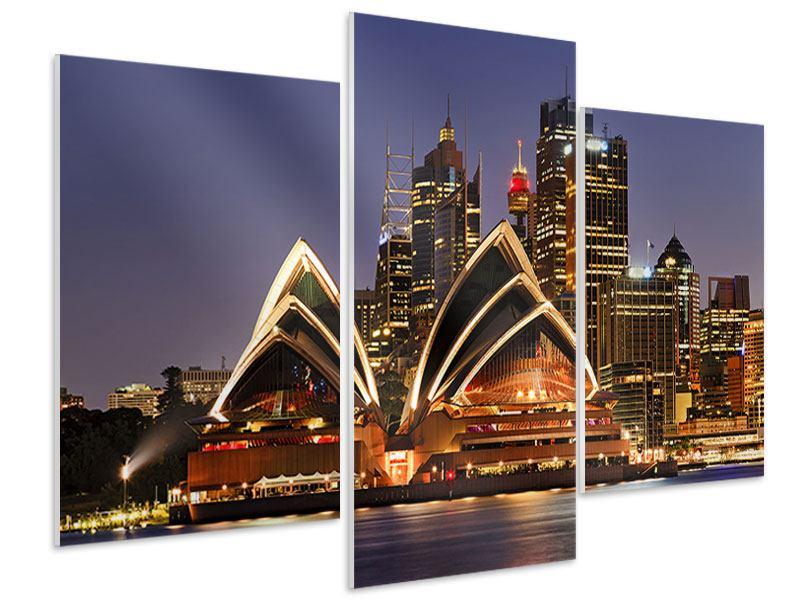 Hartschaumbild 3-teilig modern Skyline Mit dem Boot vor Sydney