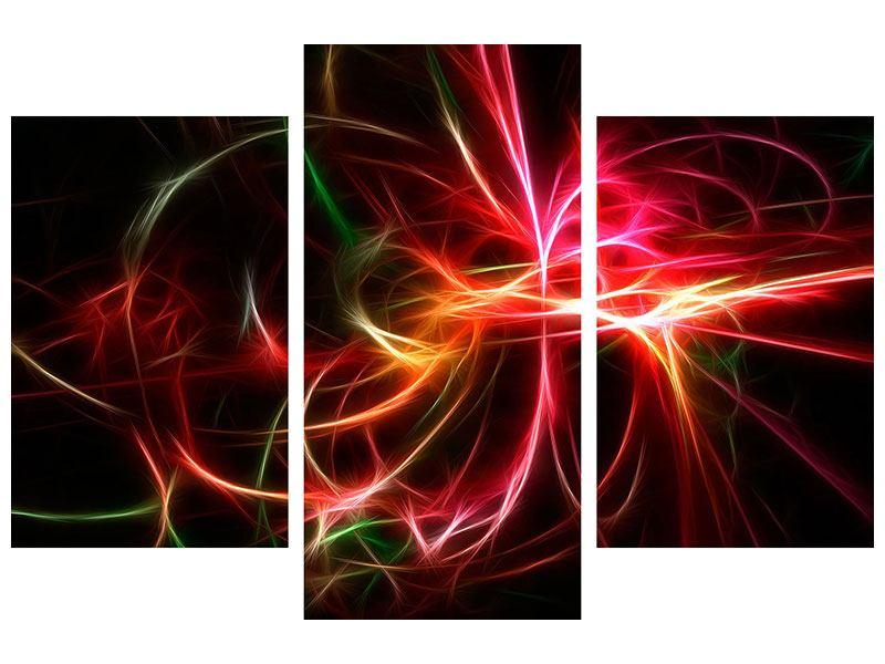 Hartschaumbild 3-teilig modern Fraktales Lichtspektakel