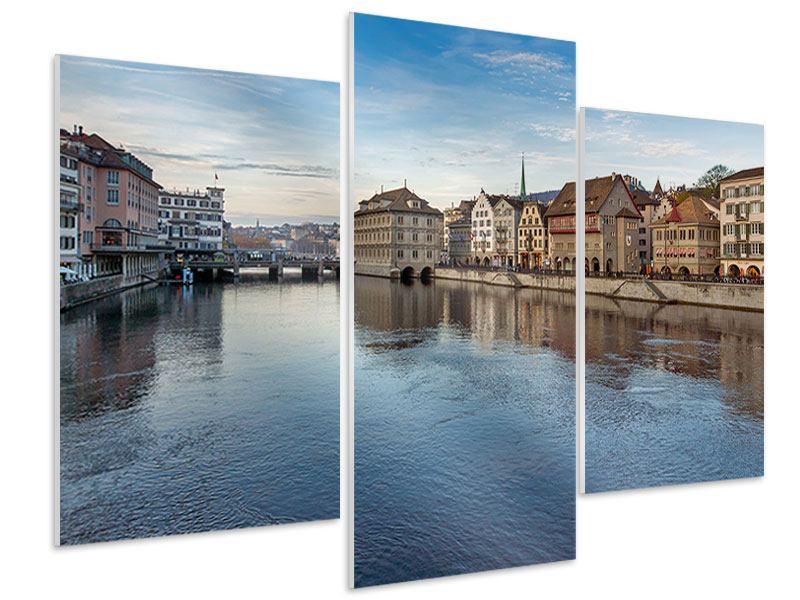Hartschaumbild 3-teilig modern Kosmopolitisches Zürich