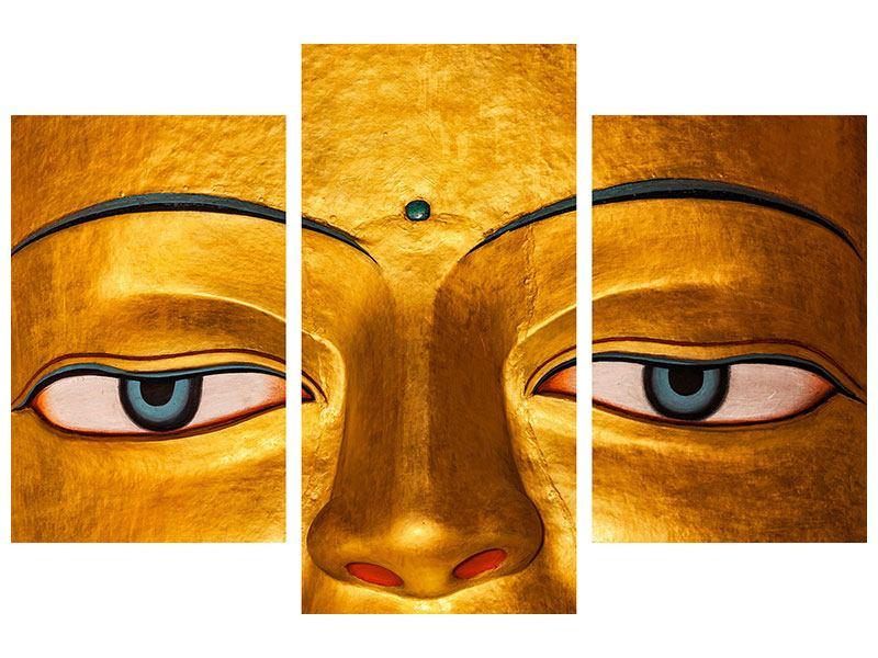 Hartschaumbild 3-teilig modern Die Augen eines Buddhas