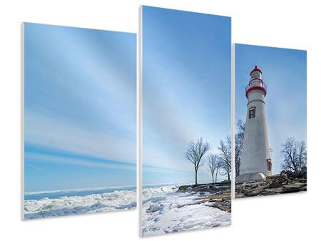 Hartschaumbild 3-teilig modern Leuchtturm im Schnee