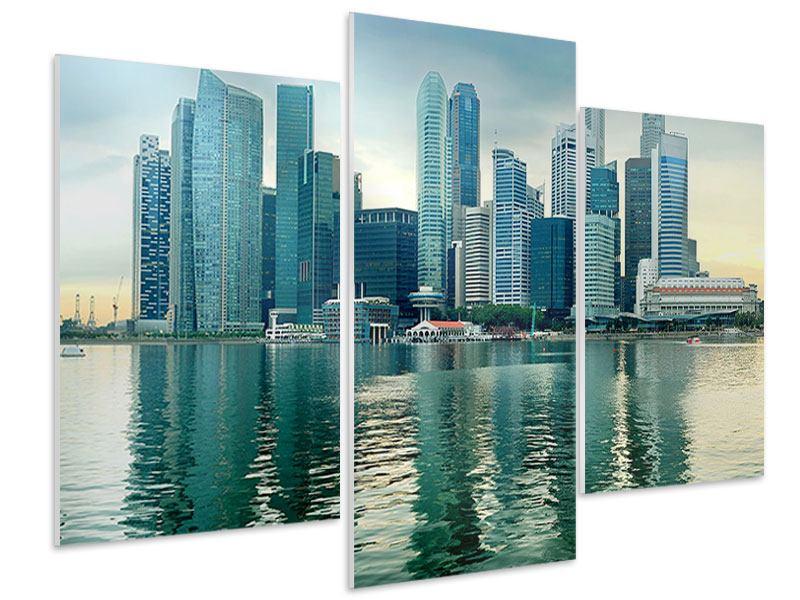 Hartschaumbild 3-teilig modern Skyline Sonnenaufgang in Singapur
