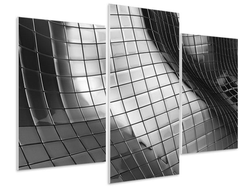 Hartschaumbild 3-teilig modern Abstrakter Stahl