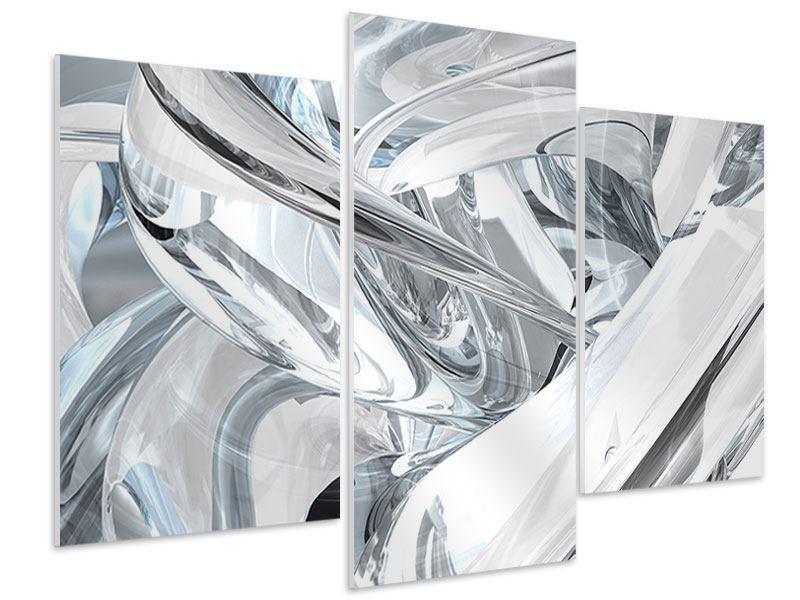 Hartschaumbild 3-teilig modern Abstrakte Glasbahnen