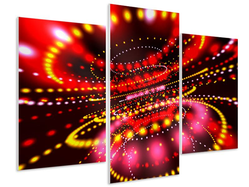 Hartschaumbild 3-teilig modern Abstraktes Lichtspiel