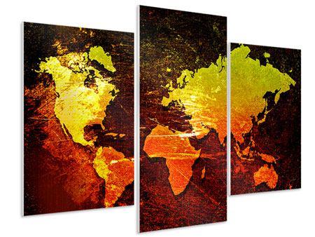 Hartschaumbild 3-teilig modern Retro-Weltkarte