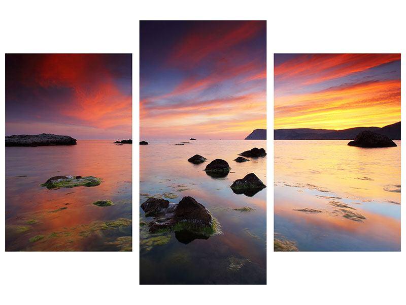 Hartschaumbild 3-teilig modern Ein Sonnenuntergang am Meer