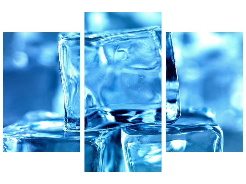 Hartschaumbild 3-teilig modern Eiswürfel XXL