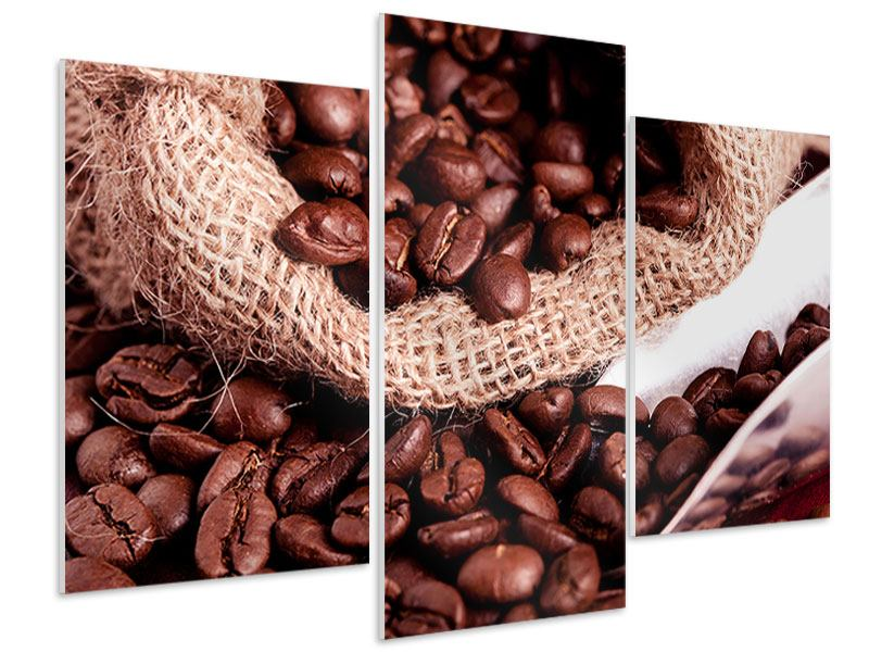 Hartschaumbild 3-teilig modern XXL Kaffeebohnen