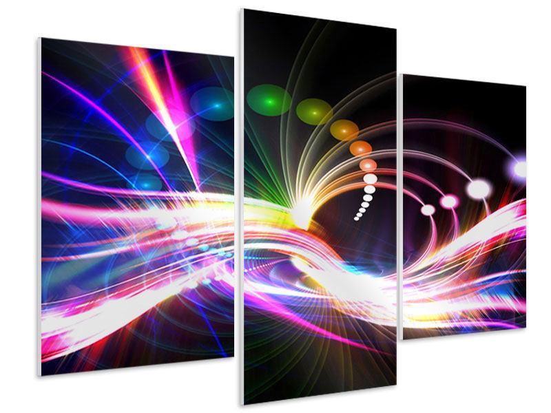 Hartschaumbild 3-teilig modern Abstrakte Lichtreflexe