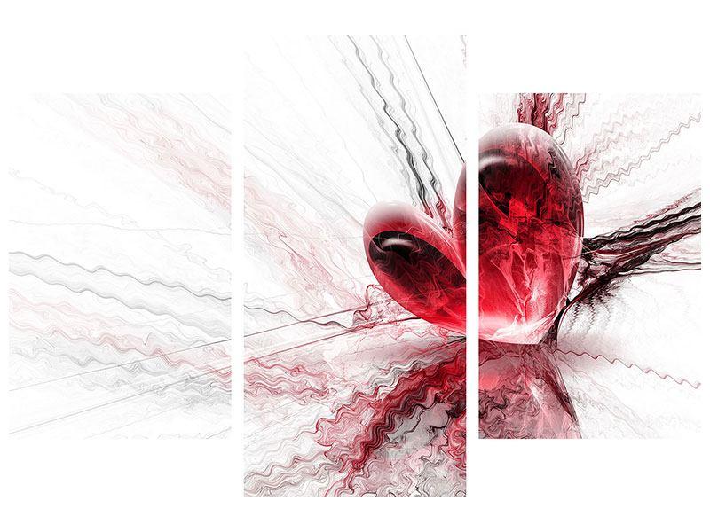 Hartschaumbild 3-teilig modern Herzspiegelung